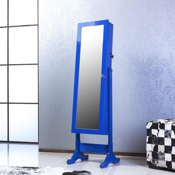 Uzamykateľné stojacie zrkadlo so šperkovnicou Nadia, modré