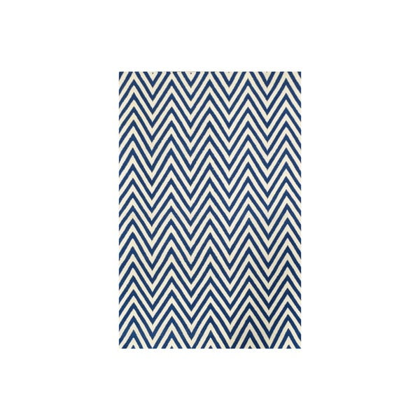 Vlnený koberec Zig Zag Dark Blue, 240x155 cm