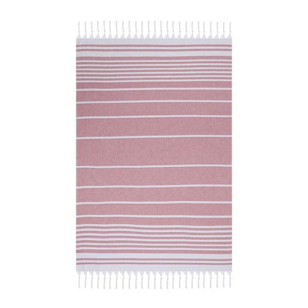 Ružová plážová osuška Fouta, 170 x 100 cm