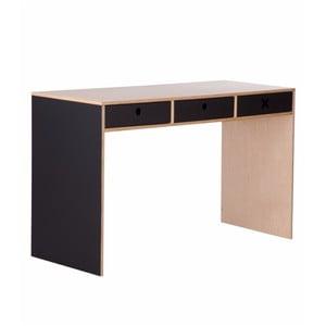 Čierny pracovný stôl s tromi zásuvkami Durbas Style