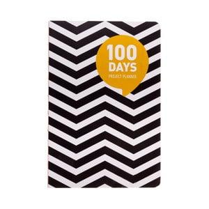 Plánovač Languo 100 Days Black/White vlnky