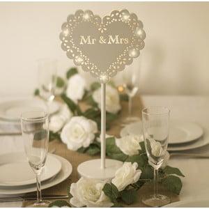 Svadobná dekorácia na stôl s LED svetielkami Wedding