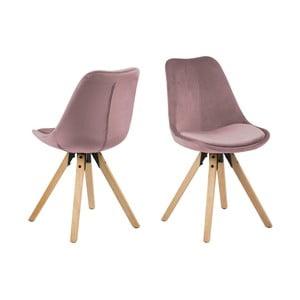 Sada 2 růžových jídelních židlí Actona Damia Velvet