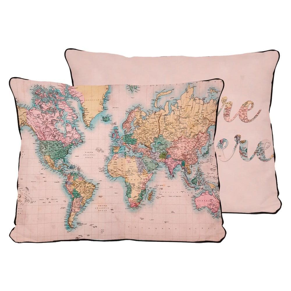 Vankúš z mikrovlákna Surdic Pillow Map, 50 × 35 cm