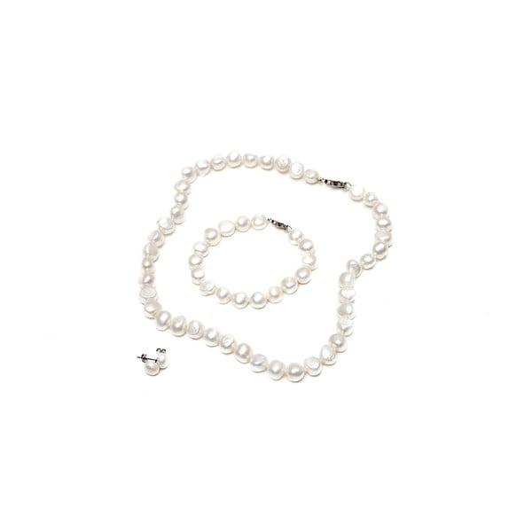 Sada náhrdelníka, náušníc a náramku z riečnych perál GemSeller Sericea, biele perly