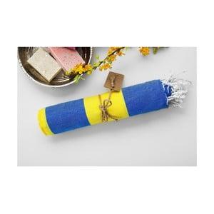 Hamam osuška Myra Blue Yellow, 100x180 cm