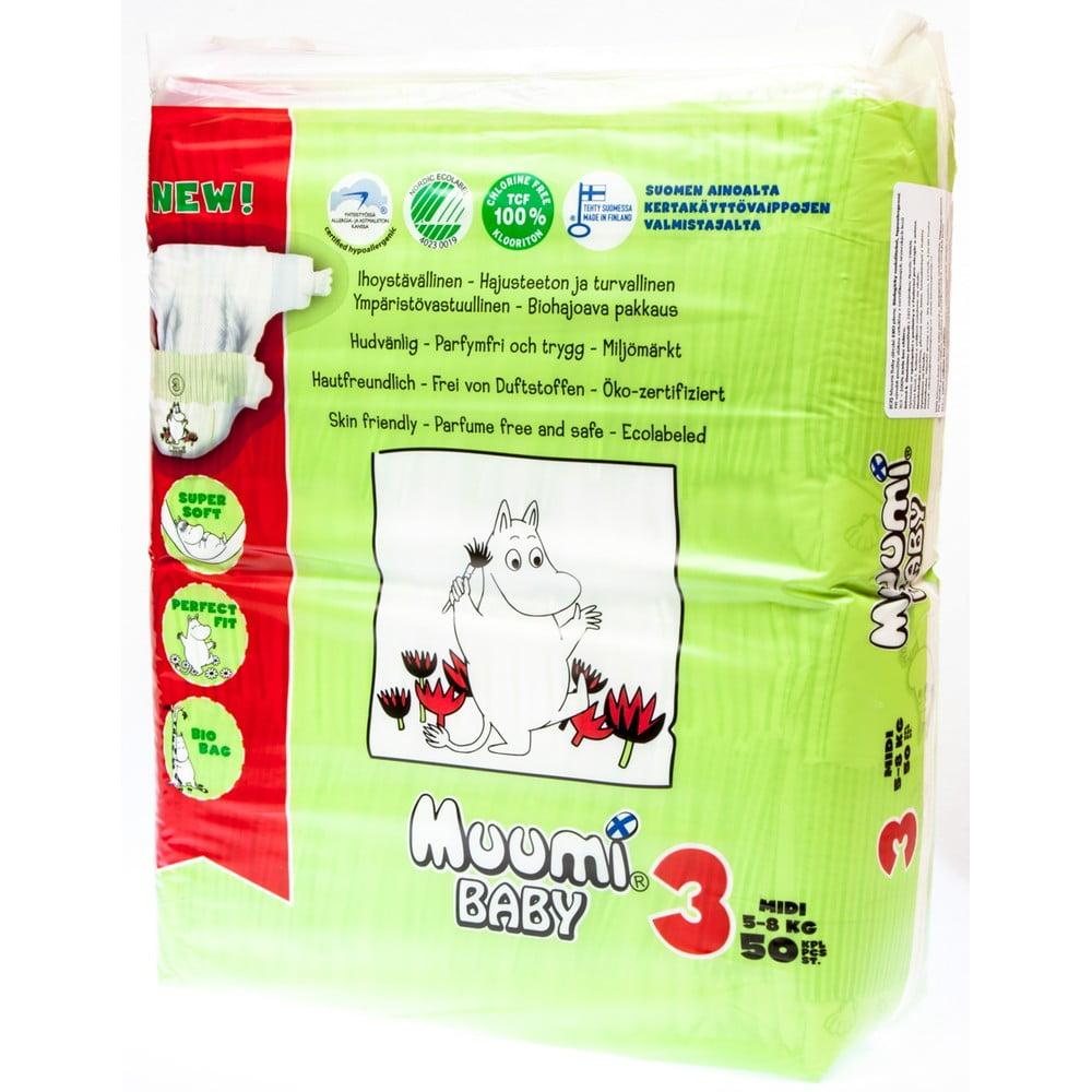 Detské plienky Muumi Baby Midi, veľ. 3, 50 kusov