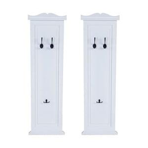 Sada 2 bielych drevených nástenných vešiakov Mendler Shabby garderóby
