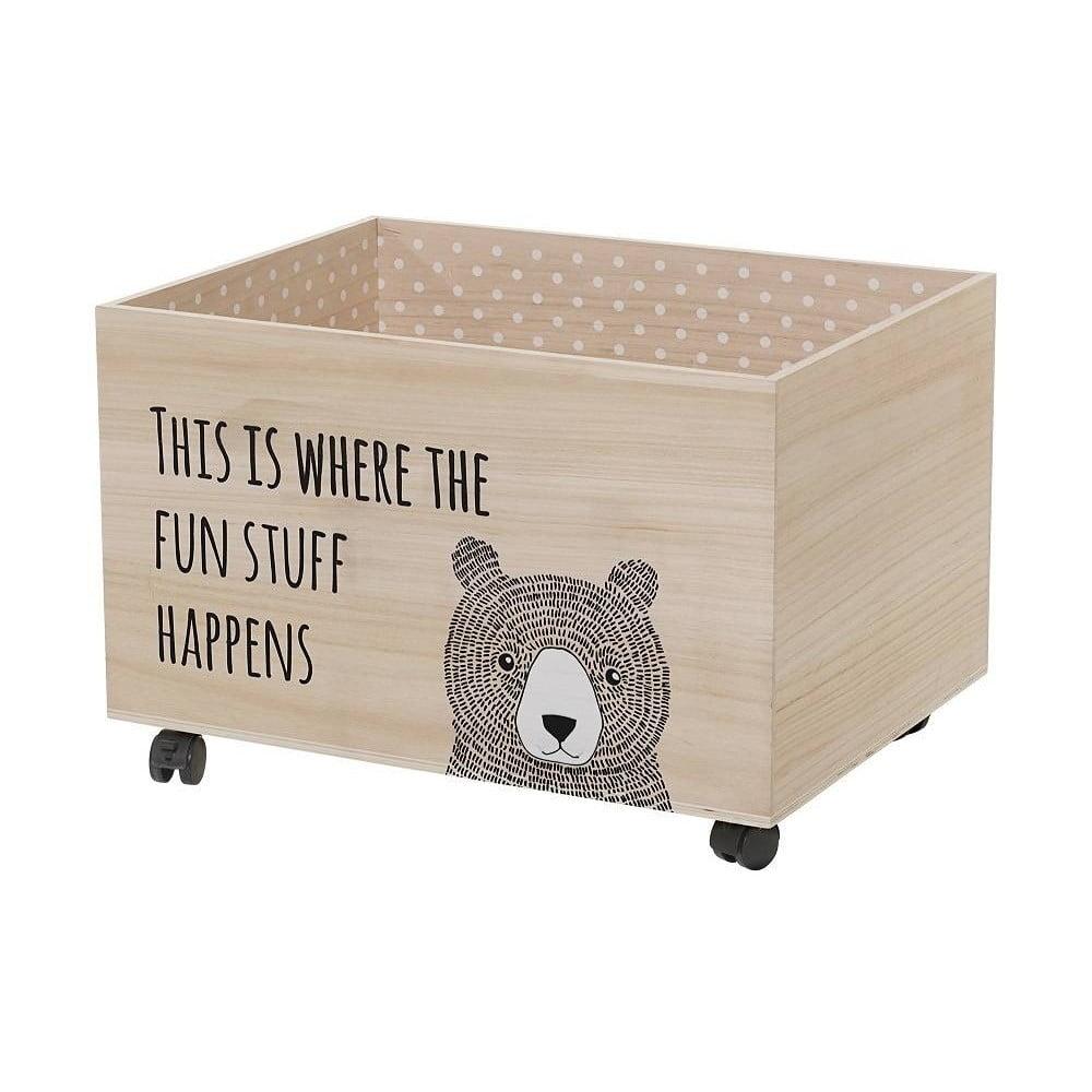 Úložný box na hračky na kolieskach z dreva paulownia Bloomingville Fun Stuff
