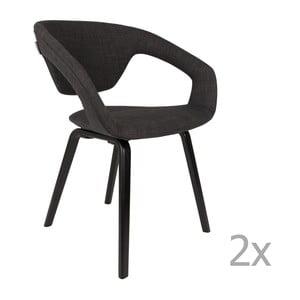 Sada 2 černých židlí s černými nohami Zuiver Flexback