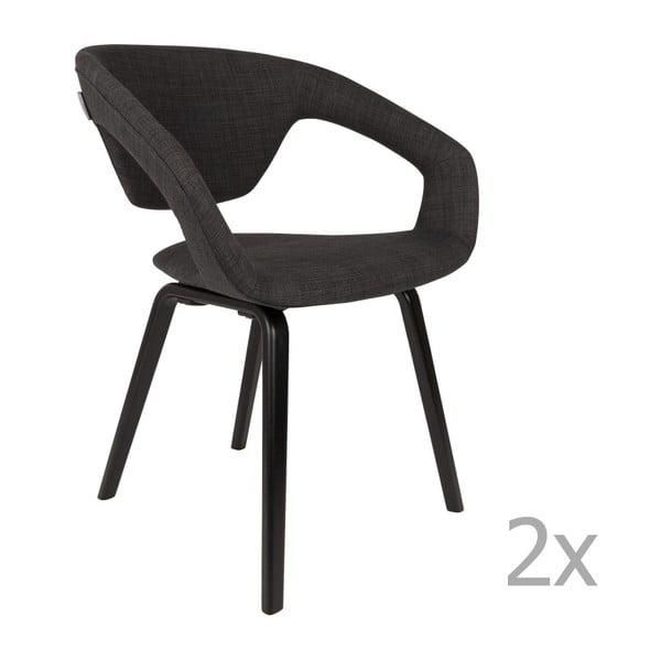 Sada 2 čiernych stoličiek s čiernymi nohami Zuiver Flexback