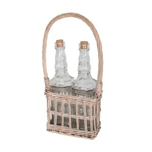 Set prúteného košíka a 2 sklenených fliaš Antic Line
