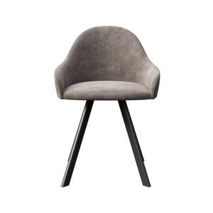 Sivá jedálenská stolička s čiernymi nohami MESONICA Brook