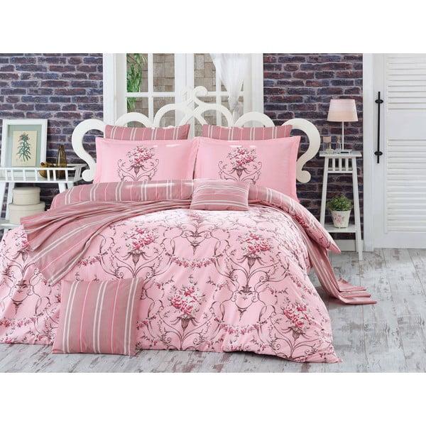 Obliečky s plachtou na dvojlôžko Ornella Pink, 200 x 220 cm