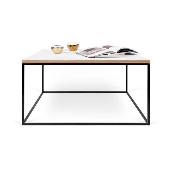 Biely konferenčný stolík s čiernymi nohami TemaHome Gleam, 75cm