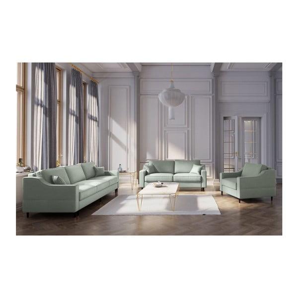 Svetlozelená trojmiestna rozkladacia pohovka s úložným priestorom Mazzini Sofas Narcisse