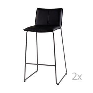 Sada 2 čiernych barových stoličiek sømcasa Lou