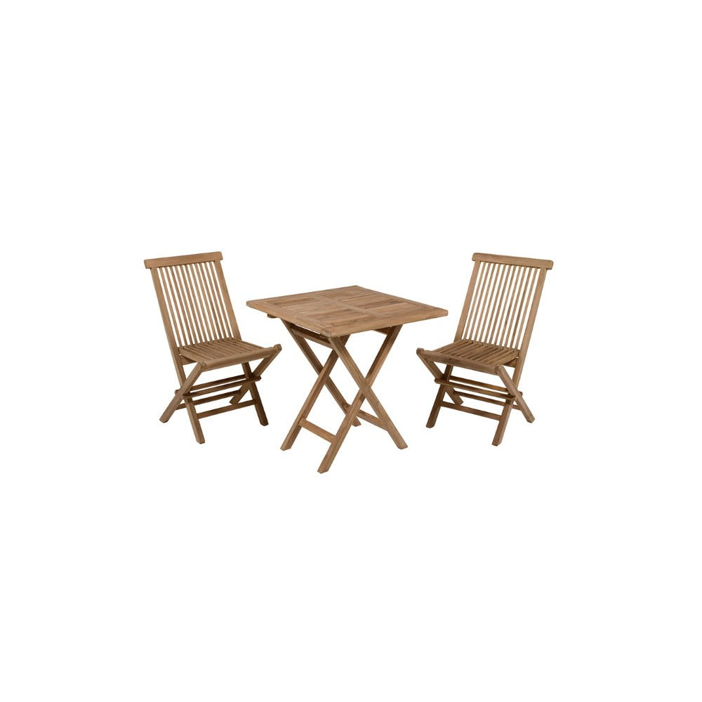 Vonkajší stôl s 2 stoličkami z teakového dreva Santiago Pons Salvatore