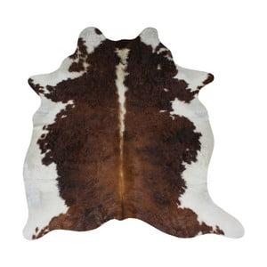 Hnedo-biely koberec z hovädzej kože, 210 x 185 cm