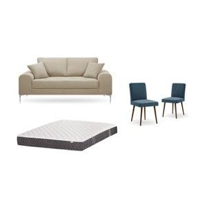 Set dvojmiestnej sivobéžovej pohovky, 2 modrých stoličiek a matraca 140 × 200 cm Home Essentials