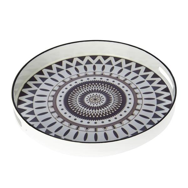 Plastový podnos, 32 cm, čierno-biely
