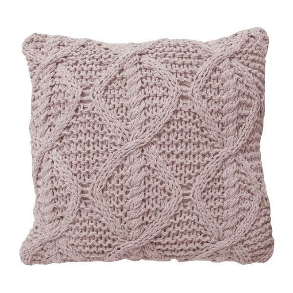 Ružový pletený vankúš OVERSEAS, 45x45cm