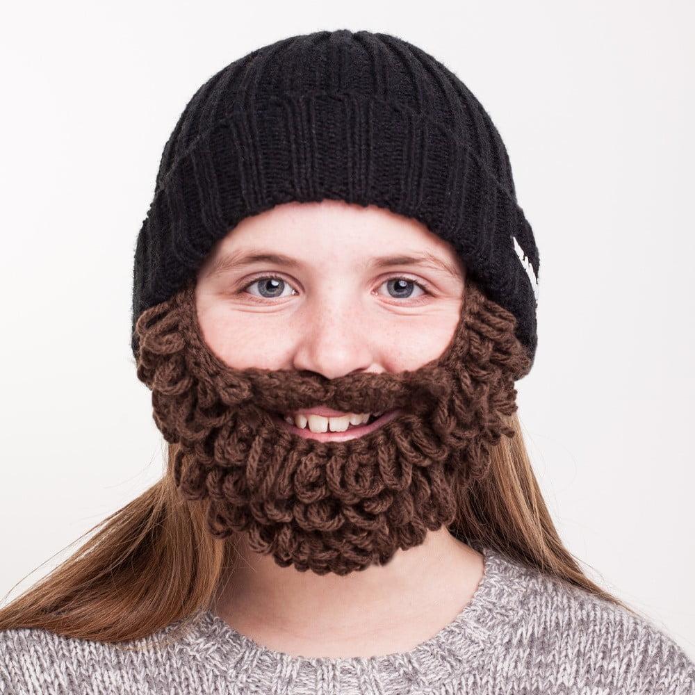 8152c06aa Čierna detská čiapka s hnedou bradou Beardo Kids Thick