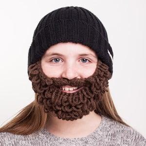 Čierna detská čiapka s hnedou bradou Beardo Kids Thick