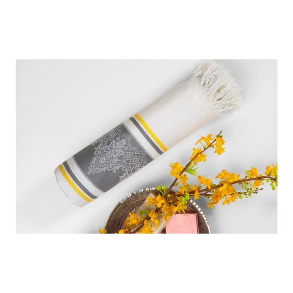 Sivo-béžová hammam osuška Deco Bianca Loincloth Grey Stripe, 80x170cm