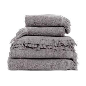 Set 2 sivých bavlnených osušiek a 6 uterákov Casa Di Bassi Soft