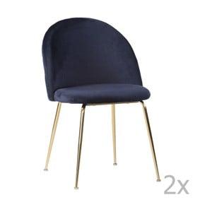 Sada 2 modrých zamatových jedálenských stoličiek House Nordic Geneve