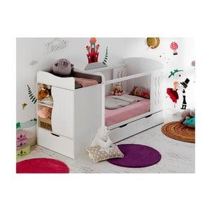 Detská biela variabilná posteľ s úložnou zásuvkou a komodou BEBE Provence Combo Belem