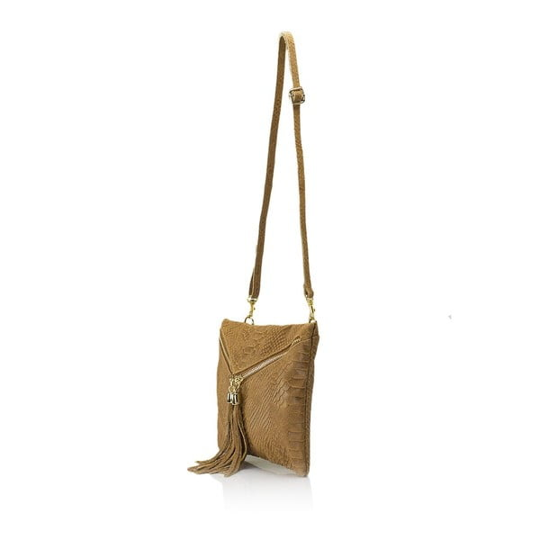 Koňakovohnedá kožená kabelka Giulia Massari Erinn