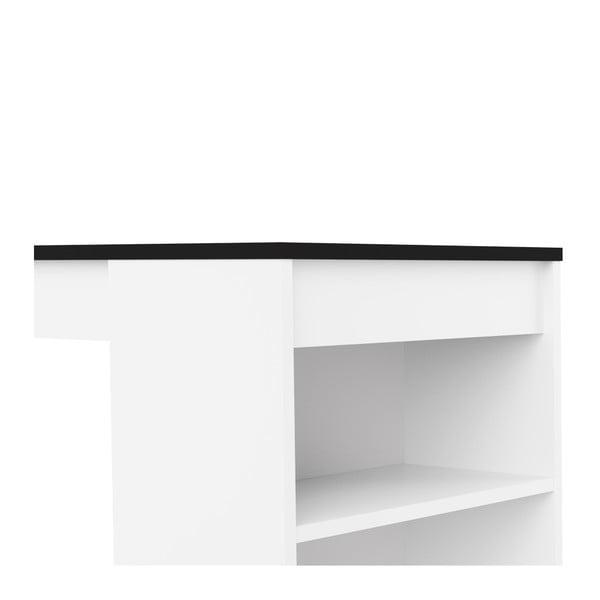 Biely barový stôl s čiernou doskou TemaHome Aravis