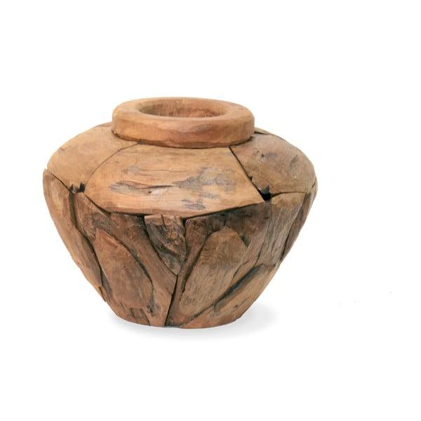 Teaková váza Moycor Low, 30 cm