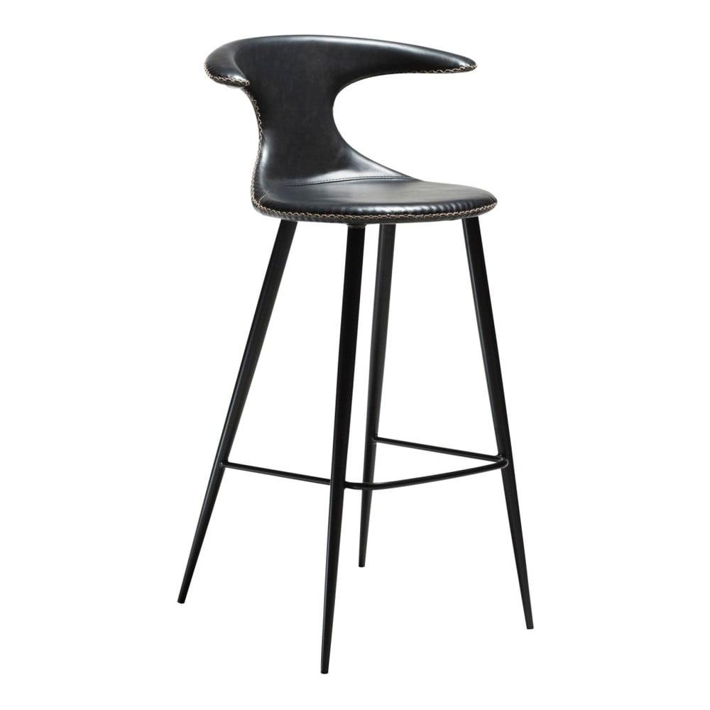 Čierna barová stolička s koženkovým sedadlom DAN-FORM Denmark Flair
