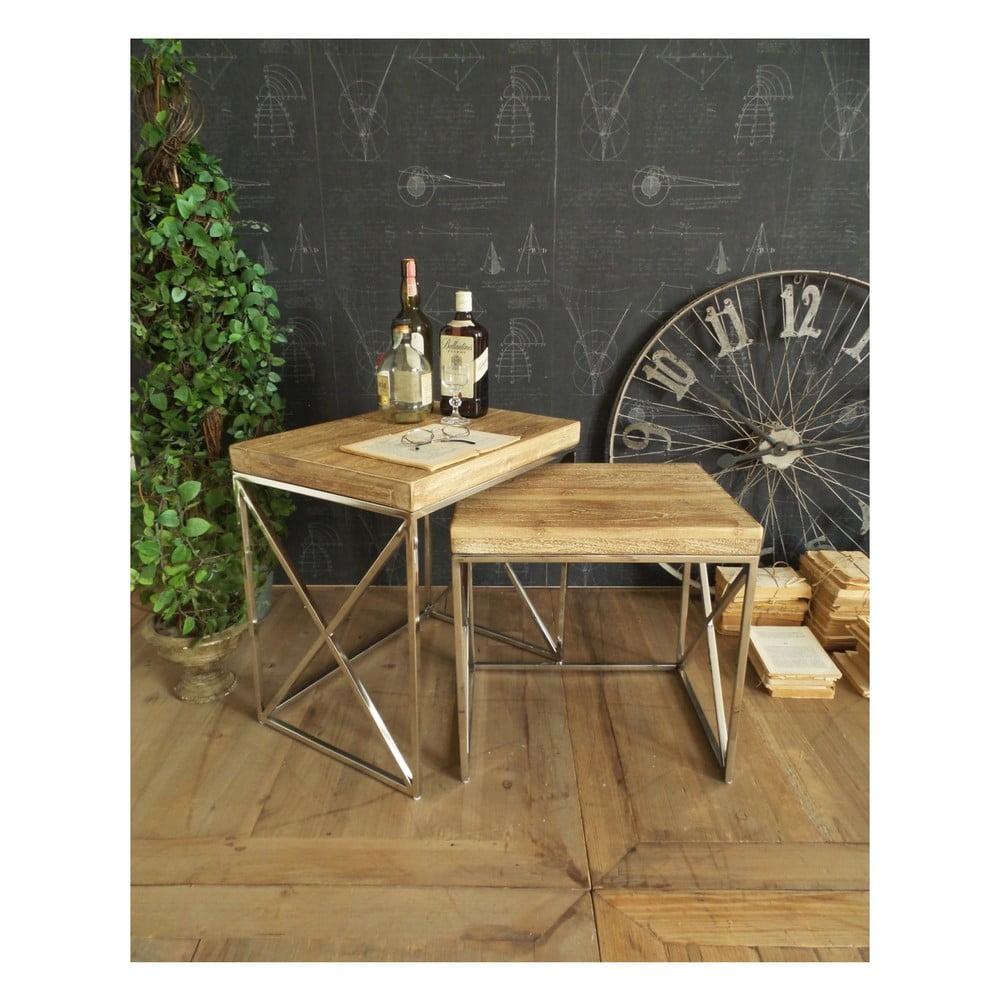 Sada 2 odkladacích stolíkov s doskou z agátového dreva Orchidea Milano Brooklyn