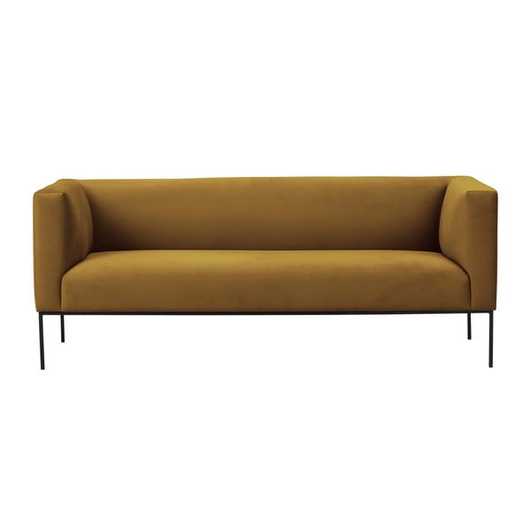 Žltá zamatová trojmiestna pohovka Windsor & Co Sofas Neptune