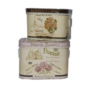 Set 2 hranatých dóz Antic Line  Pivoine