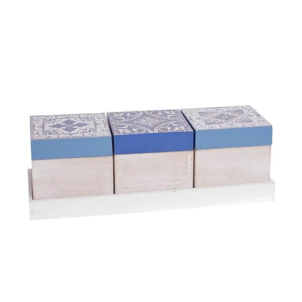 Sada 3 drevených boxov InArt Aquamarine, modrý