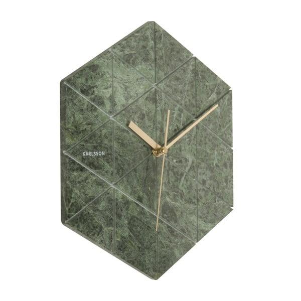 Zelené nástenné hodiny Karlsson Hexagon