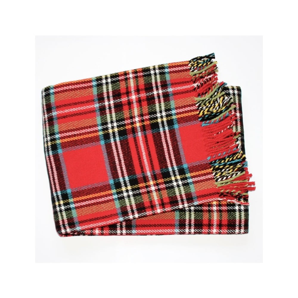 Červený kockovaný pléd s podielom bavlny Euromant Scott, 140 × 180 cm