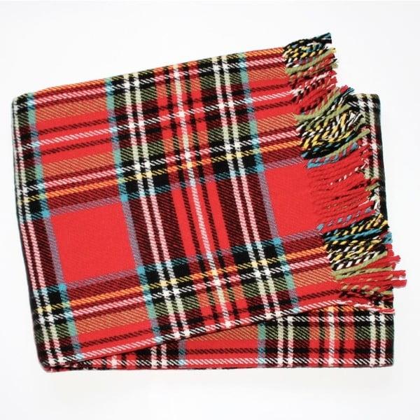Červená károvaná deka Euromant Scott, 140 x 180 cm
