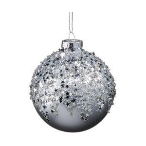 Vianočná závesná ozdoba zo skla so striebornými hviezdami Butlers, ⌀ 8 cm