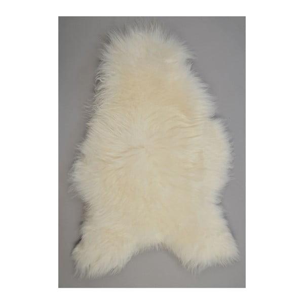 Biela ovčia kožušina s dlhým chlpom, 110x60cm