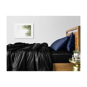 Sada 2 čierno-modrých bavlnených obliečok na jednolôžko s čiernou plachtou COSAS Lago, 160×220cm