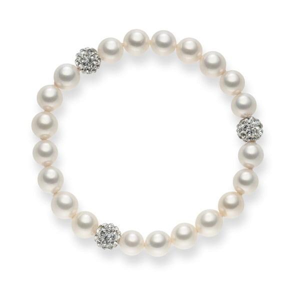 Perlový náramok White Lady, 19 cm