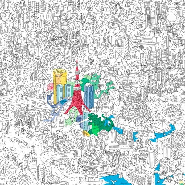 Maľovanka Tokyo, XXL (180 x 100 cm)