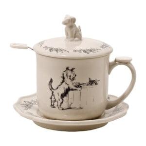 Hrnček na čaj s tanierikom, vekom a lyžičkou Dog