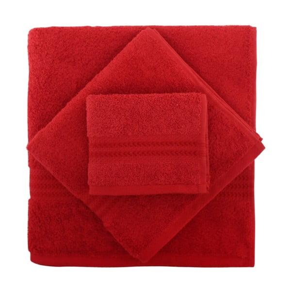 Sada 3 červených uterákov Rainbow